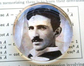 Nikola Tesla Magnet - Jumbo Glass Magnet of Nikola Tesla -  Famous Scientist Magnet - Science Magnet - Tesla Lovers