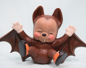 Bat for Halloween - ceramic bat - cute bat with sneakers - fall decorations - kids decor - autumn decor - laughing bat - funny smiling bat