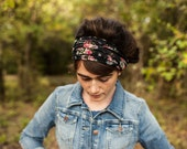 Dramatic Roses in Black Floral Stretch Headwrap Garlands of Grace headband headcovering hair wrap