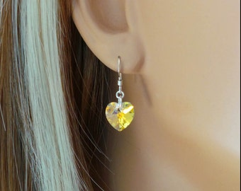 Heart Shaped Swarovski Crystal Earrings