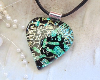 Dichroic Glass Pendant, Necklace, Glass Jewelry, Necklace Included, One of a Kind, Green, Gold, A7