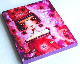 Wood Block Art Print, Inspirational Text Art, 5 x 7, Wooden Whimsical Illustration, Mixed Media, Purple Red, Home Decor