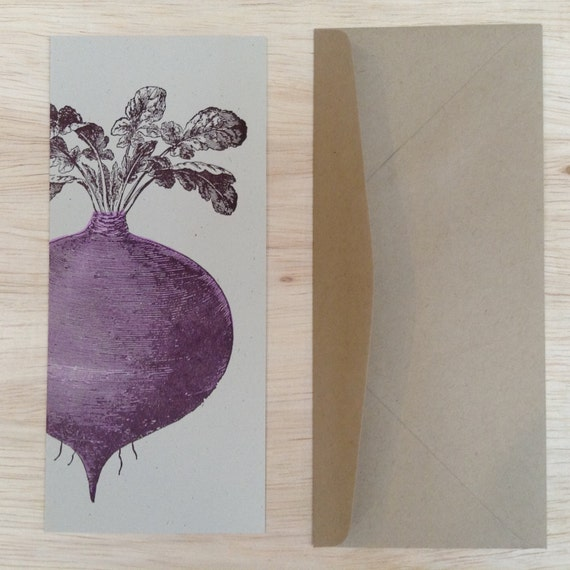 BEET GREETING CARDS Farmers Market Letterpress Card Pack of 8 a10 size