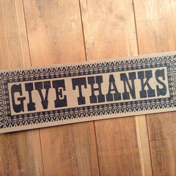 GIVE THANKS Oversized POSTCARD Hand Printed Letterpress