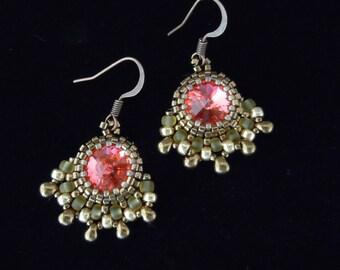 Beaded Earrings, Silver Earrings, Crystal Earrings, Bridal Earrings, Bridesmaid, Vintage Style