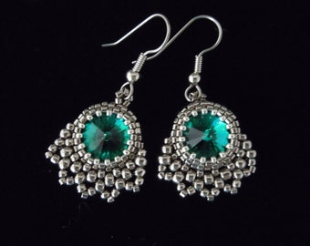 Evening Jewelry, Beaded Earrings, Seed Bead Earrings, Silver Earrings, Crystal Earrings, Bridal Earrings, Bridesmaid, Vintage Style