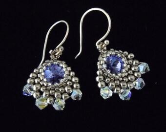 Beaded Earrings, Silver Earrings, Crystal Earrings, Bridal Earings, Seed Bead Earrings, Dangle, Drop, Purple, Bridesmaid, Vintage Style