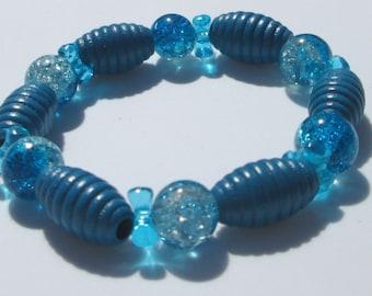 Stretch Bracelet blue glass wood and acrylic bead design stretch bracelet