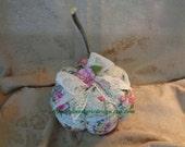 French Fabric Rose and Eiffel Tower Pumpkin, Hand Created, Sewn, Original, Fall Decorating,Home Decor, ECS