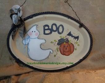 Halloween Boo Sign, Hand Painted Metal Oval Catering Tray, Display, Halloween Decor, Door, Wall Sign, ECS
