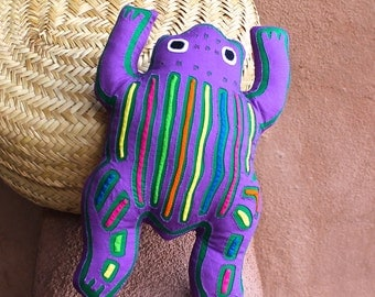 Fabulous Purple Mola Frog Pillow - Whimsical Kuna Indian Reverse Applique