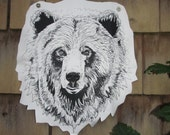 Grizzly Bear Head Silk Screen Print Patch on cotton canvas Original Illustration Black Ink White Fabric