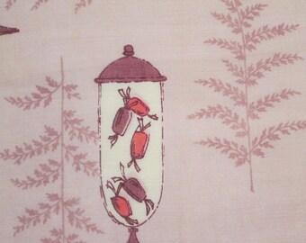 Vintage Faith Austin All Linen Handkerchief - Collectible - Mauve Candy Jars