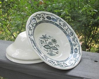 Three Vintage Dessert Bowls - Blue and White Stoneware