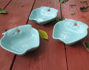 Three Vintage Ceramic Candy/ Trinket Dishes - Belmar Pottery 1950s - Aqua Apples 734