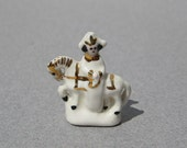 Napoleon on Horseback Figurine Antique Dollhouse Miniature Tiny Porcelain Figure Circa 1900
