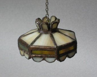 Vintage Dollhouse Hanging Light Fixture Handmade Stained Glass Lamp Shade Miniature