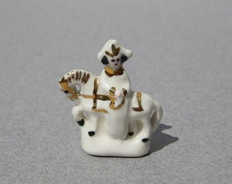 Napoleon on Horseback Figurine Antique Dollhouse Miniature Tiny Porcelain Figure Circa 1900