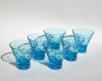 Capri Dot Double Shot Glasses Hazel Atlas Azure Blue 1960s Vintage Set of Six