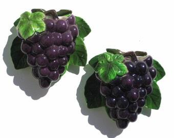 Vintage Lefton Wall Pockets Purple Grapes Kitchen Decor Cottage Chic Pair #6839