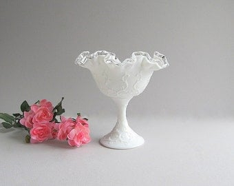 Vintage Spanish Lace Bowl, Milk Glass Compote, Milk Glass Bowl, Silver Crest Dish, Footed Milk Glass Bowl, Wedding Dish