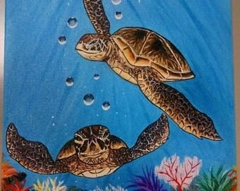 Sea turtles, 11 x 14 Acrylic painting