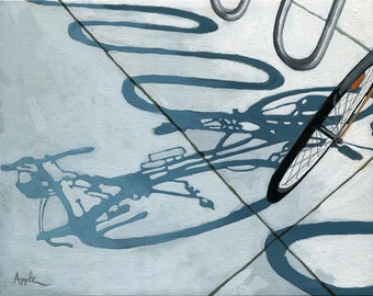 Bicycle Shadows Cycling Bike Art original oil painting