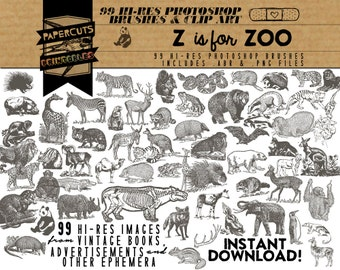 Z is for Zoo - 99 Hi-Res Photoshop Brushes / Clip Art / Image Pack - Includes .ABR and .PNG Files