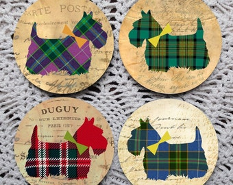 Mad for Plaid -- Scottie Dog Mousepad Coaster Set