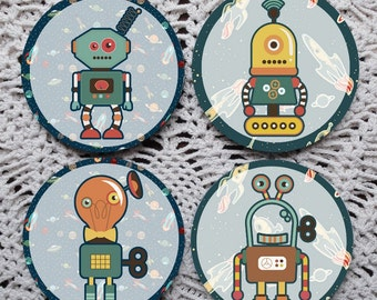 Spaced Out -- Fun Space Robots Mousepad Coaster Set
