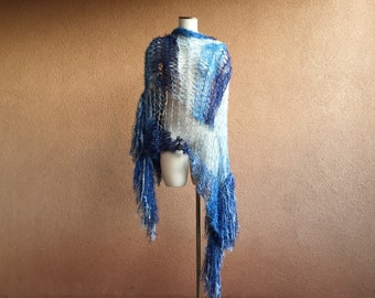 Blue Shawl / Ombre Scarf White and Blue Scarf Blue and White Scarf Shaded Scarf Light to Dark Scarf Blue Ombre Scarf Ombre Blue Scarf