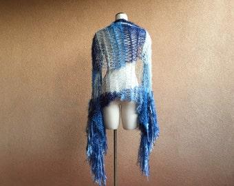 Shibori Look Blanket Scarf / Blue Shawl White and Blue Shaded Scarf Light to Dark Scarf Blue Ombre Shawl Ombre Blue Scarf
