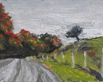 Art Original Trading Card ACEO Landscape Oil Painting Impressionist Small Miniature Fall Eastern Townships Quebec Canada By Founier no2015-9