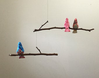 Bird Mobile Custom  3 colorful Birds on natural tree branches personalized just for you