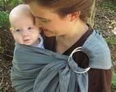 Linen Ring Sling Baby Carrier - 100% Linen in Bayou - DVD included - choose white or chocolate accent color