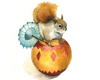 Nut the Circus Squirrel-squirrel Art