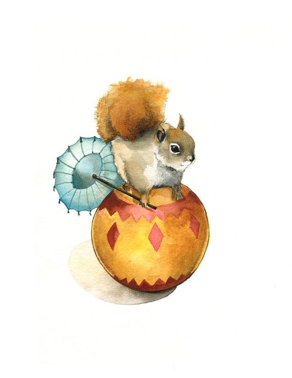 Nut the Circus Squirrel-squirrel Art