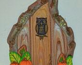 Owl Pumpkin Fairy Door, Fairy Garden, Fairy Decor, Fall Decor