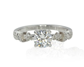 Engagement Ring, CZ Sun, Crescent Moon and Stars Engagement Ring in 14kt White Gold - Celeste Collection - LS2904