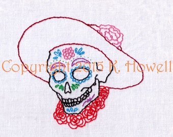 Day of the Dead, Hand Embroidery Pattern, Female, Sugar Skull, Dia De Los Muertos, Skull, Decorated, PDF