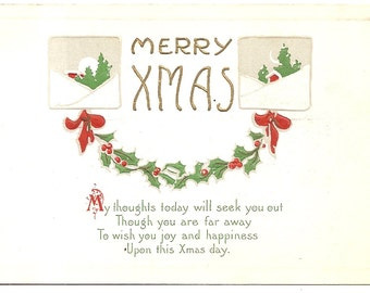 Vintage 1920's Postcard - A Merry Xmas - Unused