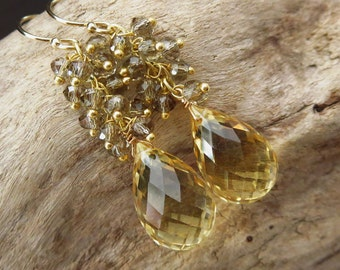Lemon Quartz-Smoky Smokey Quartz Fringe Charm-Cascade Waterfall Briolette Dangle 14k Gold Fill Earrings