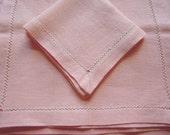 Vintage Linen Placemats & Napkins, Set of 4, Pink, Table Linens