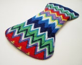 """9.5"""" Regular Cotton Flannel Flared Contoured Cloth Menstrual Pad, Zigzag Purple Blue Red Yellow Green Comic Book, Incontinence Pad, Day Pad"""
