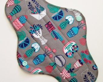 "10.5"" Cotton Regular Cloth Menstrual Pad - Succulent Geometric Terrarium Vase Gray Blue Pink Green - Incontinence Pad Cloth Sanpro Plus Size"