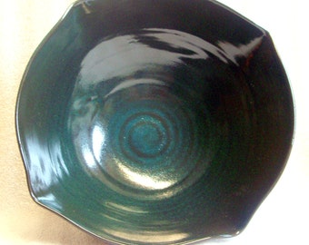 Teal and Black or Burgundy Wheel Thrown and Altered Pottery Bowl with A Swirl Inside