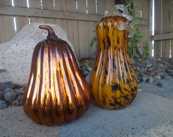 Large Copper orange Mercury glass Pumpkin Fall decor