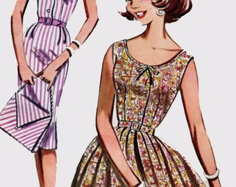 1960s Wiggle or Full Skirted Dress with Matching Handbag Butterick 9757 Vintage 60s MOD Mad Men Sewing Pattern Size 12 Bust 32 UNCUT