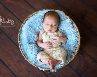 Knit Overalls - Newborn Photo Props - Baby Boy Pants - U Choose Color & Size