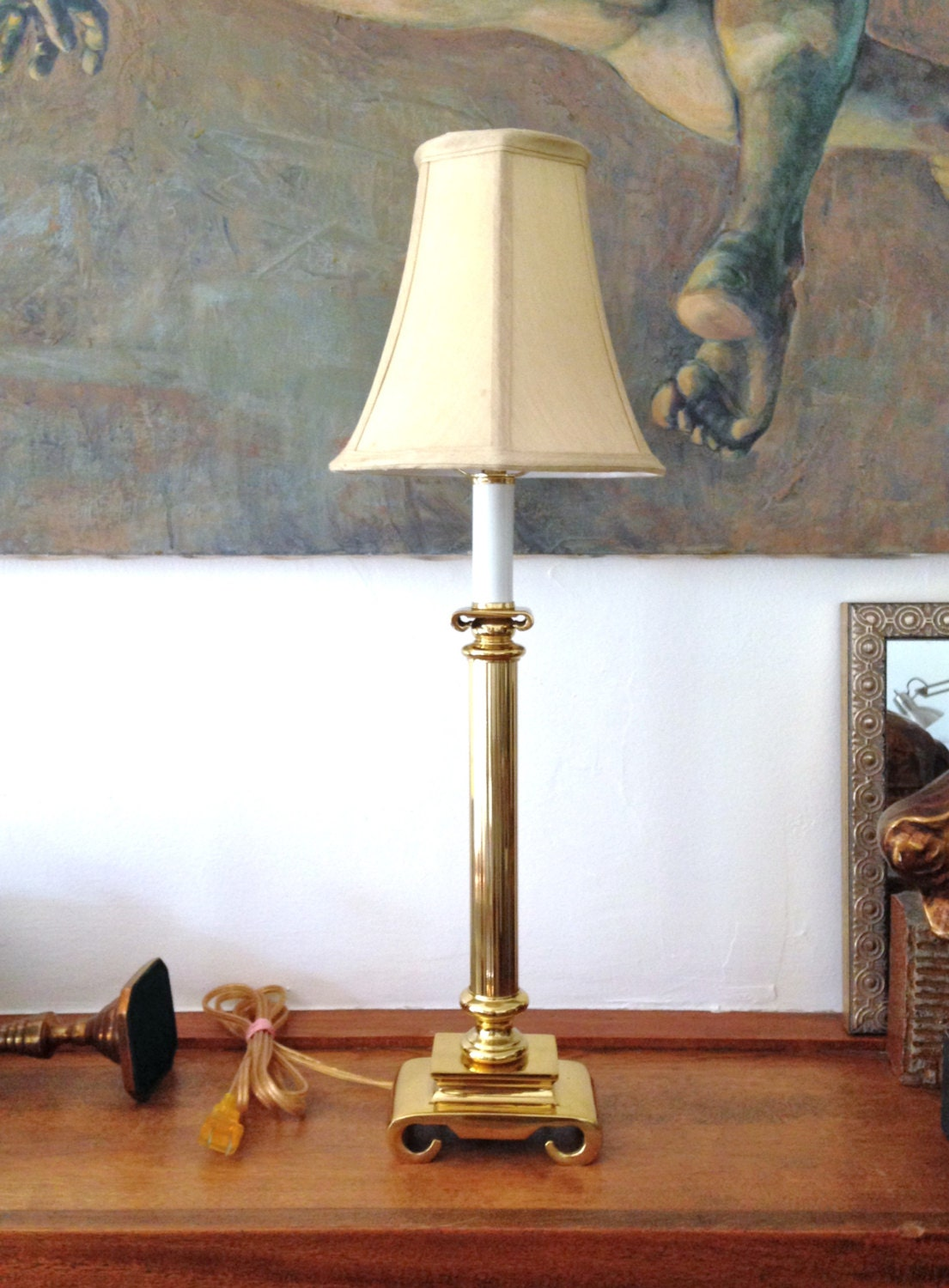 Table Lamp Tall Skinny Brass Greek Column Vintage 80s